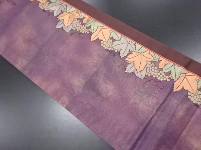 金通し葡萄模様織り出し袋帯【リサイクル】【中古】