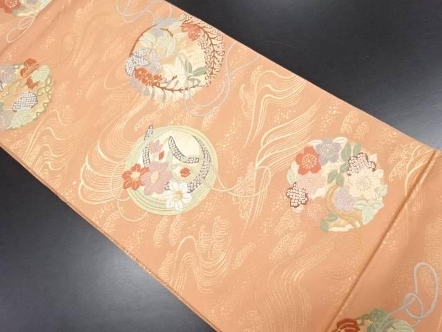唐織花丸紋織り出し全通本袋帯【リサイクル】【中古】