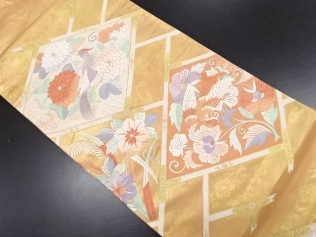 本金花鳥模様織り出し袋帯【リサイクル】【中古】