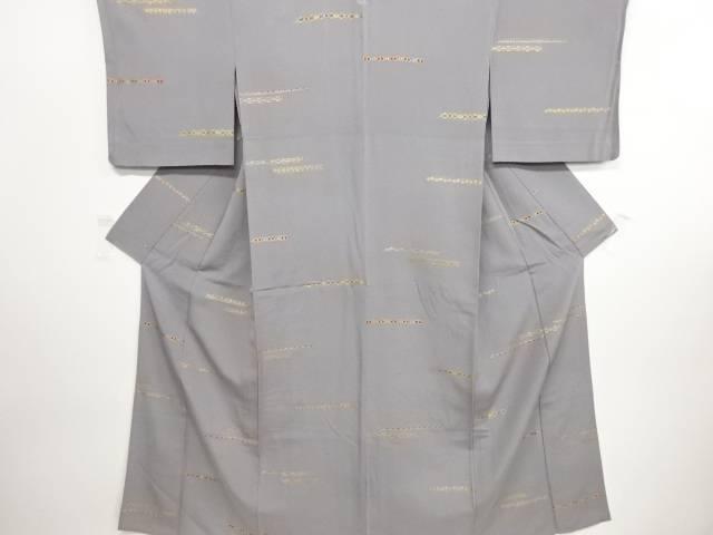金彩横段に更紗模様一つ紋単衣小紋着物【リサイクル】【中古】【09OFF】