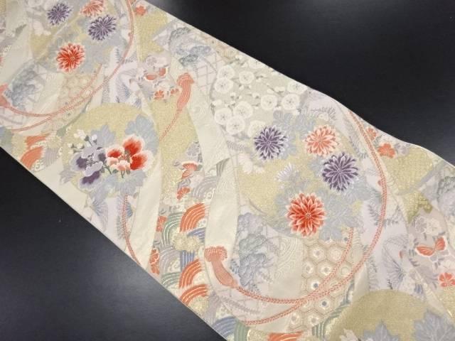 金糸丸に草花組紐古典柄織り出し袋帯【リサイクル】【中古】