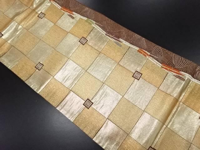 本金市松に扇模様織り出し袋帯【リサイクル】【中古】
