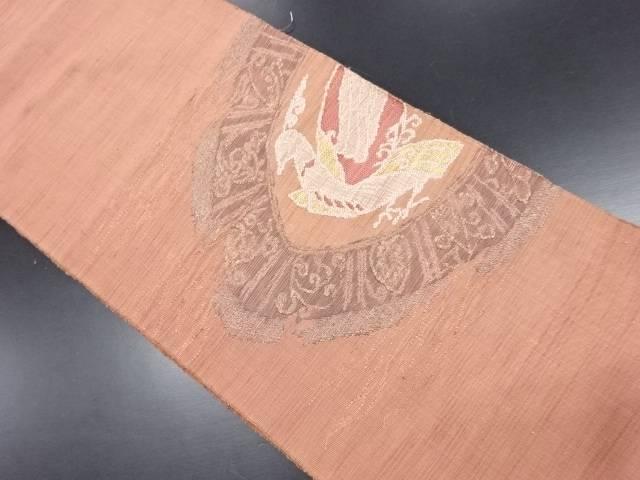 手織り紬絵皿に鳥模様織り出し名古屋帯【リサイクル】【中古】