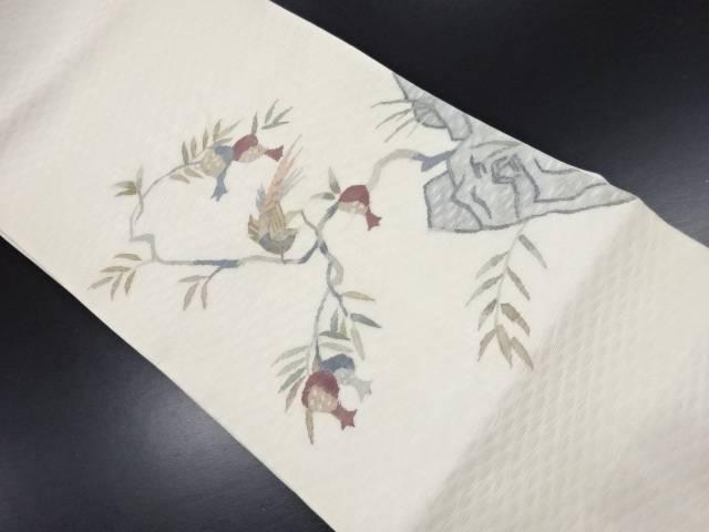 紗すくい織無花果に尾長鳥模様織り出し袋帯【リサイクル】【中古】