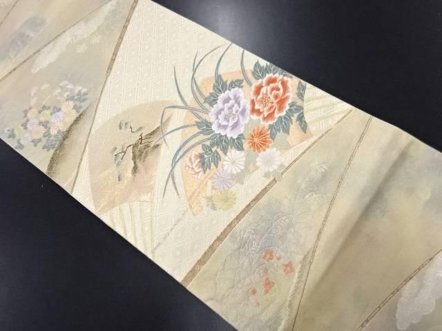 本金 扇面に松・菊・牡丹模様織り出し袋帯【リサイクル】【中古】
