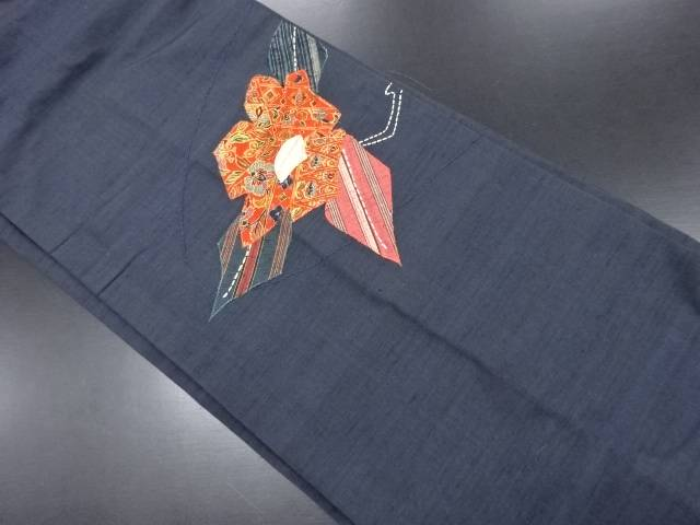 手織り紬パッチワーク抽象椿模様刺繍名古屋帯【リサイクル】【中古】