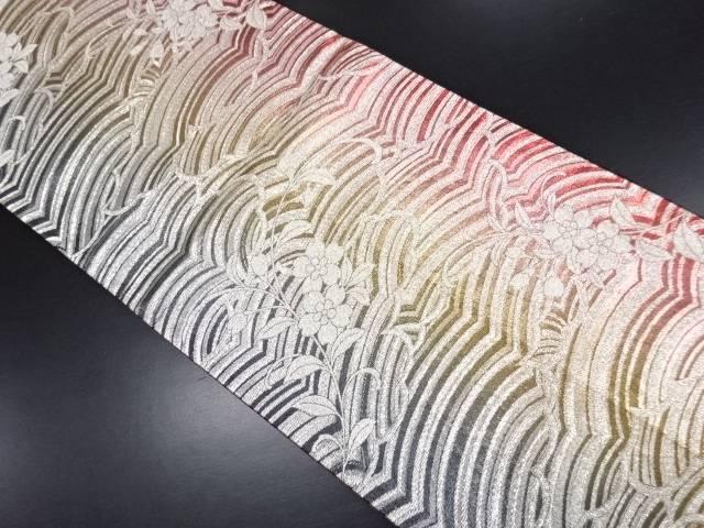 金銀糸波に桜模様織り出し全通袋帯【リサイクル】【中古】【09OFF】