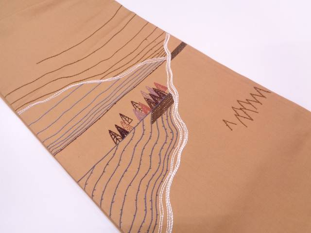 山に樹木風景模様刺繍袋帯【リサイクル】【中古】
