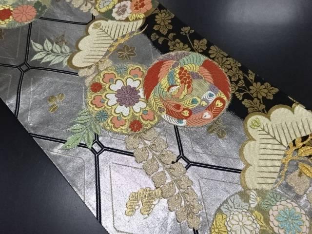 金銀糸笠松に花鳥模様織り出し全通袋帯【リサイクル】【中古】