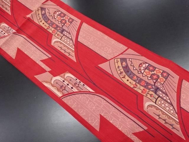 花更紗模様織り出し洒落袋帯【リサイクル】【中古】