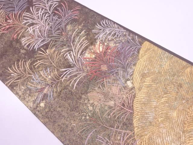 引箔草葉模様織出し袋帯【リサイクル】【中古】