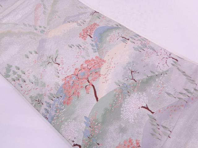 山並風景模様織出し袋帯【リサイクル】【中古】