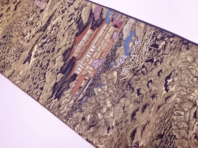 酒井守製 寺院風景模様織出し袋帯【リサイクル】【中古】