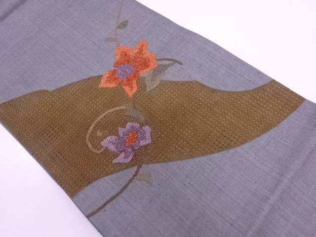 手織り紬花唐草模様刺繍袋帯【リサイクル】【中古】