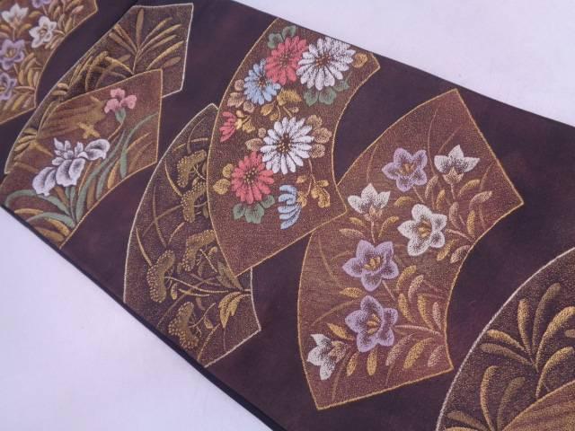 河村織物製 蒔絵草花文織出し袋帯【リサイクル】【中古】