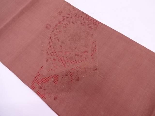 手織り紬汕頭相良刺繍地紙に華紋模様袋帯【リサイクル】【中古】
