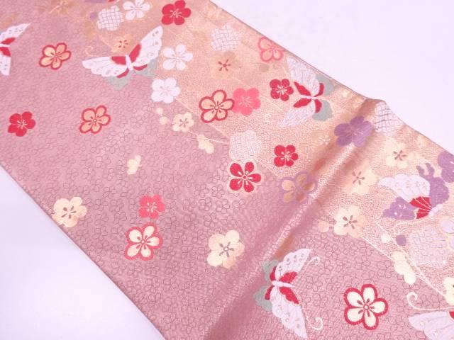 梅に蝶模様織出し袋帯【リサイクル】【中古】