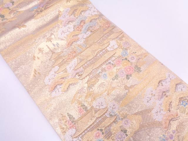 長嶋織物製 寺院風景模様織出し袋帯【リサイクル】【中古】