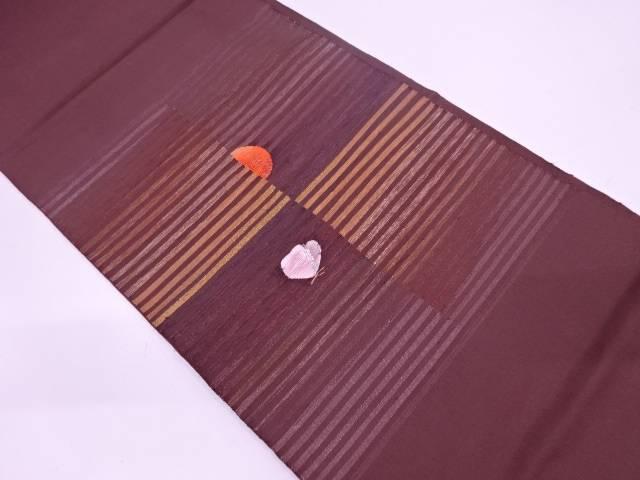 綴れ横段に抽象模様織出し袋帯【リサイクル】【中古】