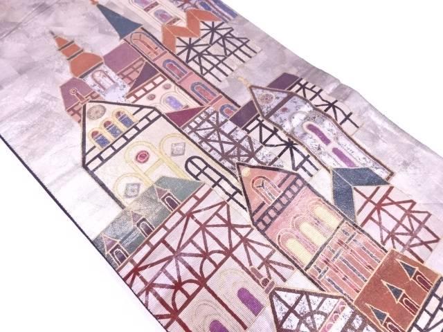 螺鈿洋館模様織出し袋帯【リサイクル】【中古】