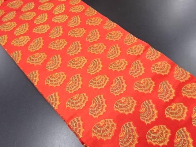 龍村美術織物製 彩貝文綿織り出し開き名古屋帯(額縁仕立て)【リサイクル】【中古】
