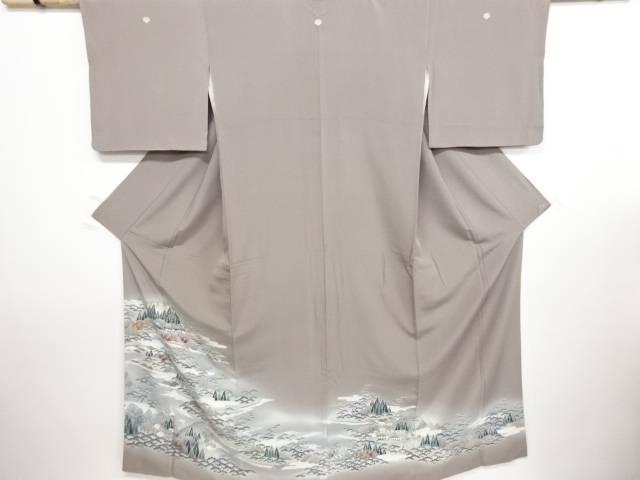 手描友禅 風景模様五つ紋色留袖(比翼付き)【リサイクル】【中古】