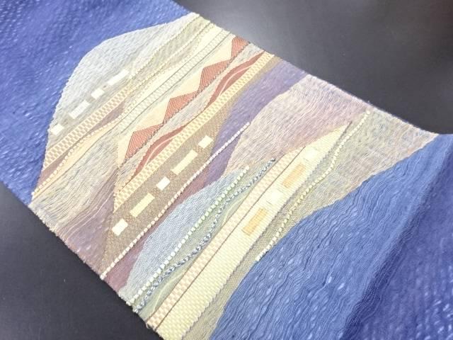 すくい織遠山模様織り出し袋帯【リサイクル】【中古】