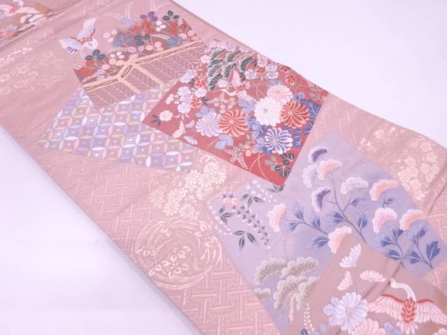 祥鶴色紙文織出し袋帯【リサイクル】【中古】