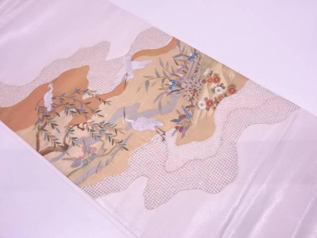 未使用品 蘇州刺繍道長取りに白鷺・草花模様袋帯【リサイクル】【中古】