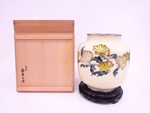 稲葉七宝造 七宝草花花瓶(台付)