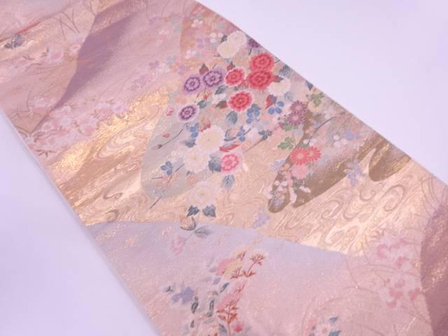 本金二丁箔流水に四季の花模様織出し袋帯【リサイクル】【中古】