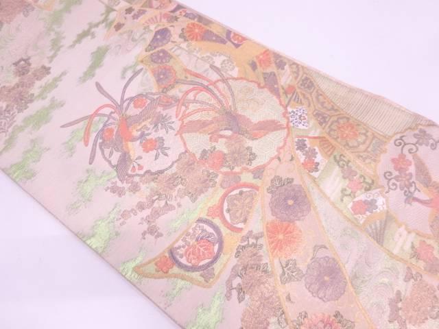 プラチナ二重箔 束ね熨斗に雪輪・花鳥模様織出し袋帯【リサイクル】【中古】