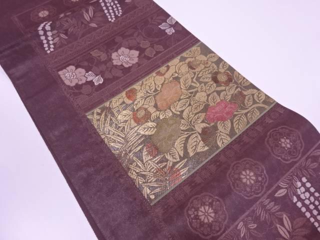 漆横段に椿模様織出し袋帯【リサイクル】【中古】