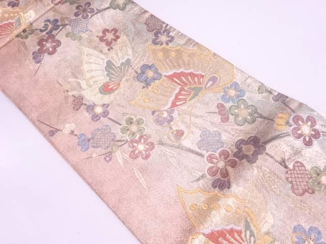 蝶に梅・笹模様織出し袋帯【リサイクル】【中古】