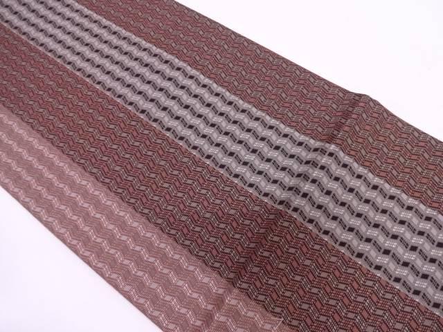 未使用品 小池織物製 ゴブラン織縞に抽象模様織出し全通袋帯【リサイクル】【中古】