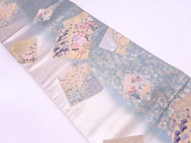 色紙に花車模様織出し袋帯【リサイクル】【中古】