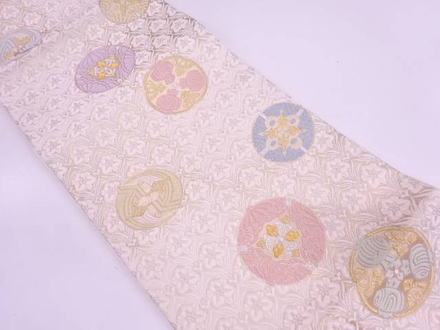未使用品 唐織草花に宝づくし模様織出し袋帯【リサイクル】【中古】