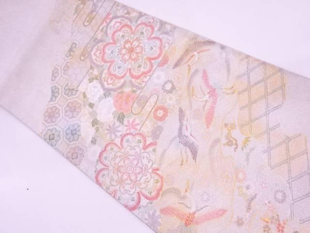 綴れ群鶴に草花・松竹梅模様織出し袋帯【リサイクル】【中古】
