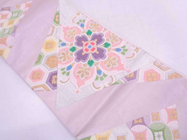 切りばめ風華文模様織出し袋帯【リサイクル】【中古】