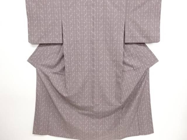 格子に十字絣模様織り出し手織り紬単衣着物【リサイクル】【中古】