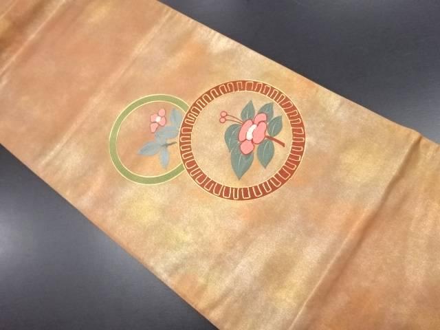 引箔花丸模様刺繍袋帯【リサイクル】【中古】