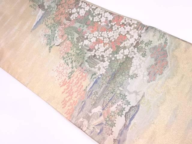霞に風景模様織出し袋帯【リサイクル】【中古】