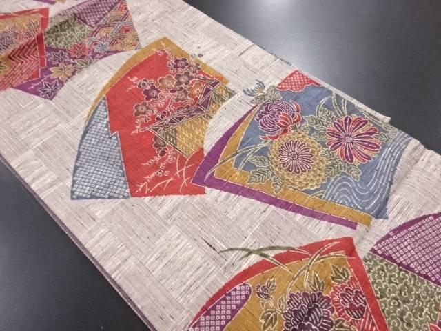 未使用品 手織り紬地紙に菊梅・牡丹・楓模様袋帯【リサイクル】【中古】