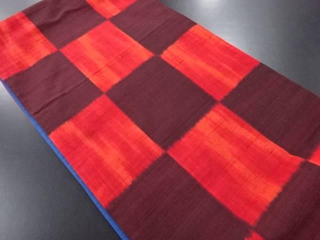 手織り真綿紬市松模様織り出し全通洒落袋帯【リサイクル】【中古】
