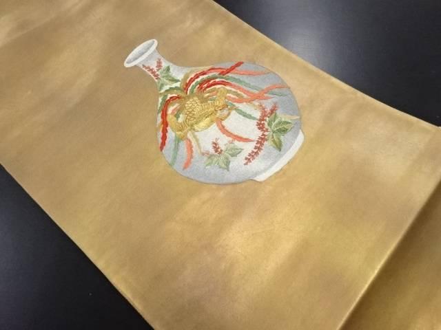 引箔壷に鳳凰・桐模様刺繍袋帯【リサイクル】【中古】