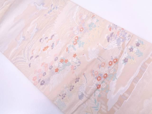 雲に鶴・秋草模様織出し袋帯【リサイクル】【中古】