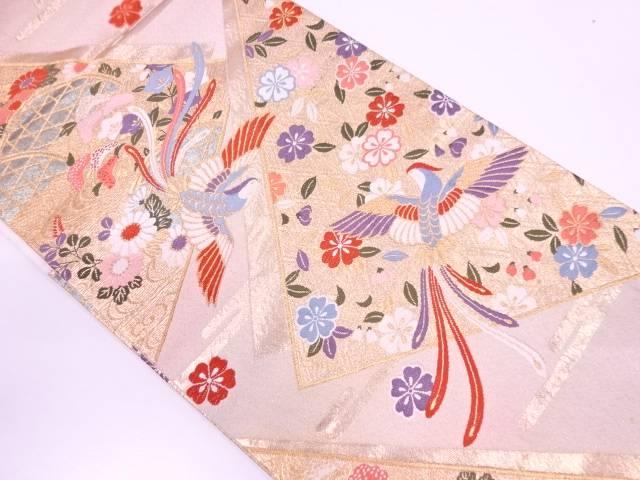 松に花鳥模様織出し袋帯 【リサイクル】【中古】