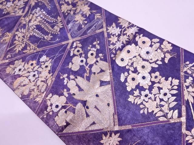 草花に流水模様刺繍袋帯 【リサイクル】【中古】