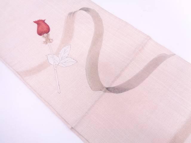 明綴れ薔薇模様織出し袋帯【リサイクル】【中古】