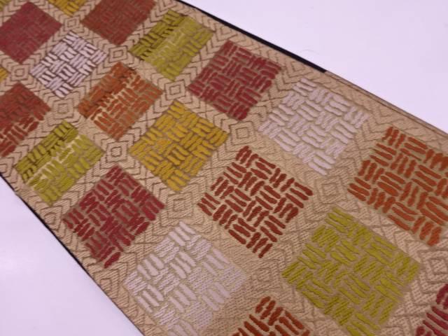 川島織物製 格子に抽象模様織出し袋帯【リサイクル】【中古】